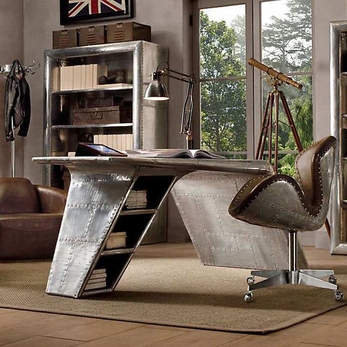 Aviation themed home office design deniz home for Aviation decoration ideas